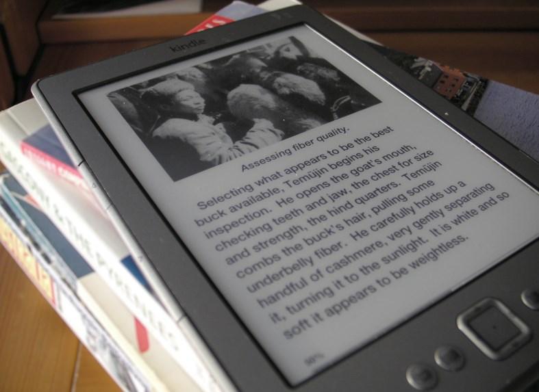 Amazon Kindle lukulaite ja kirjapino