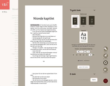 type and tell omakustannekirja, layout