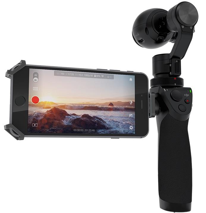 dji osmo -kamera, älypuhelin ohjaa kuvanvakaajaa