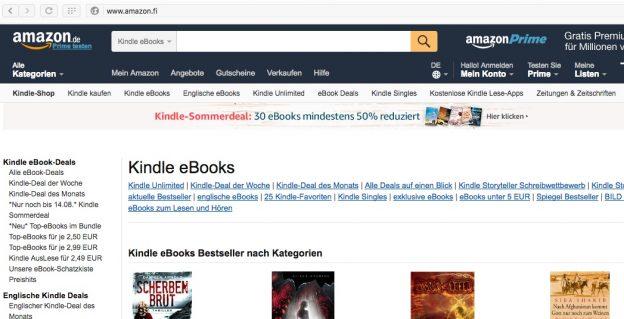 amazon.fi ohjautuu amazon.de-kauppaan