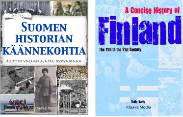 Kirjojen kansikuvat: Suomen hisotiran käännekohtia ja A Concise History of Finland