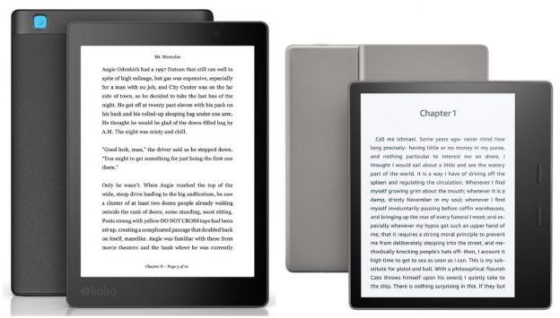 Kobo Aura One ja Amazon Kindle Oasis e-kirjojen lukulaitteet