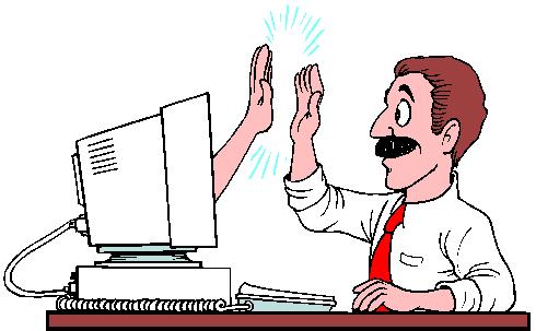 tietokone ja käyttäjä high-five