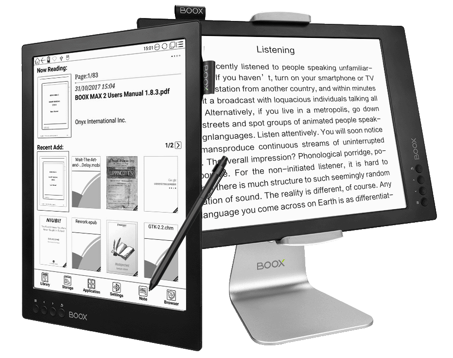 onyx boox max 2 e-kirjojen lukulaite ja PC monitori