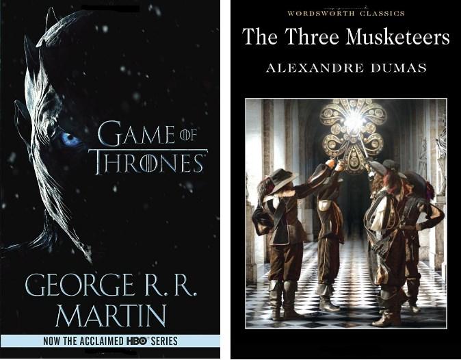 klassikkokirjojen kansikuvia: kolme muskettisoturia ja Game of Thrones