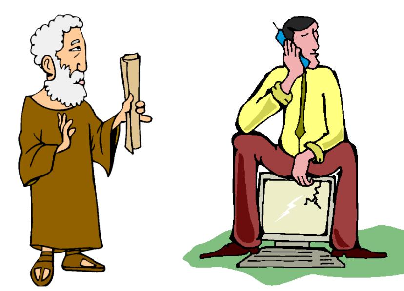 vanha viisas mies, papyrus. nuori moderni mies, tietokone