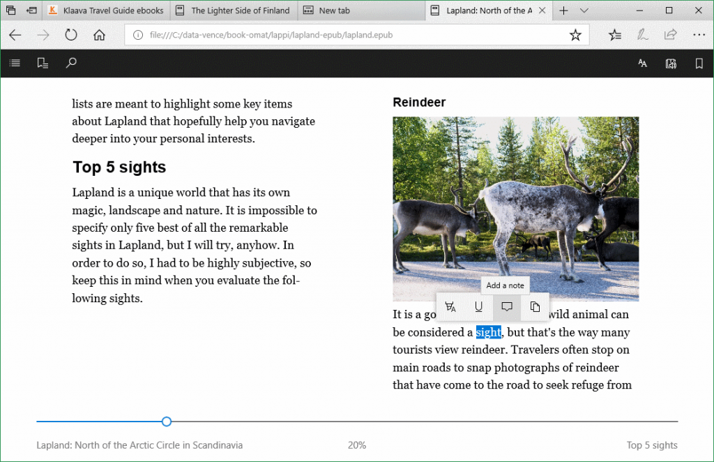 MS Edge browser for ebooks