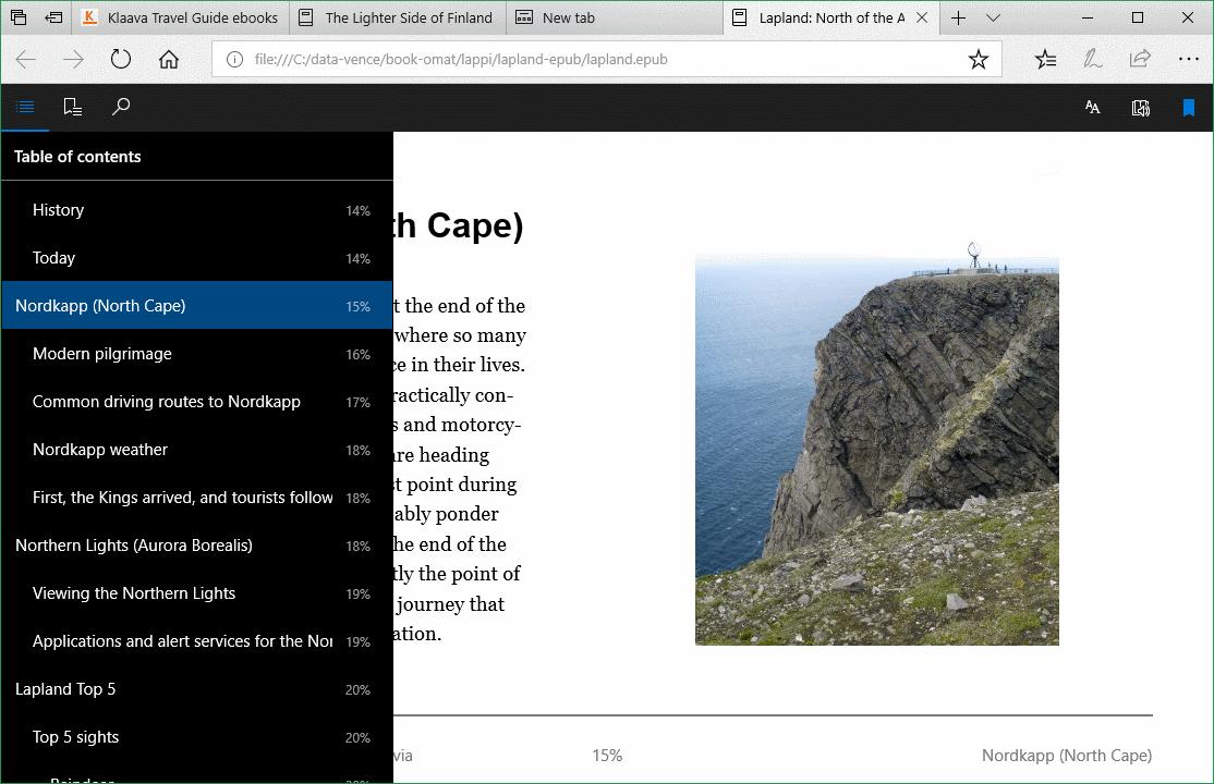 Microsoft Edge verkkoselain, e-kirjat luettavissa