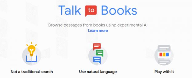 Google Talk to Books, kotisivu