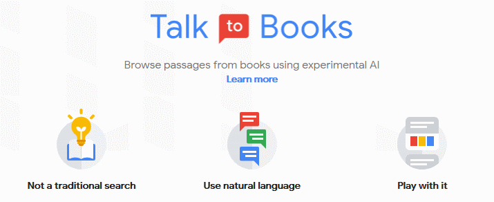 Google Talk to Books, kotisivu