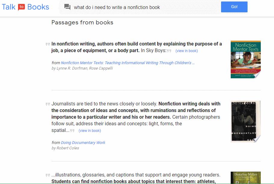 Google Talk to Books, tekoäly etsii kirjoja
