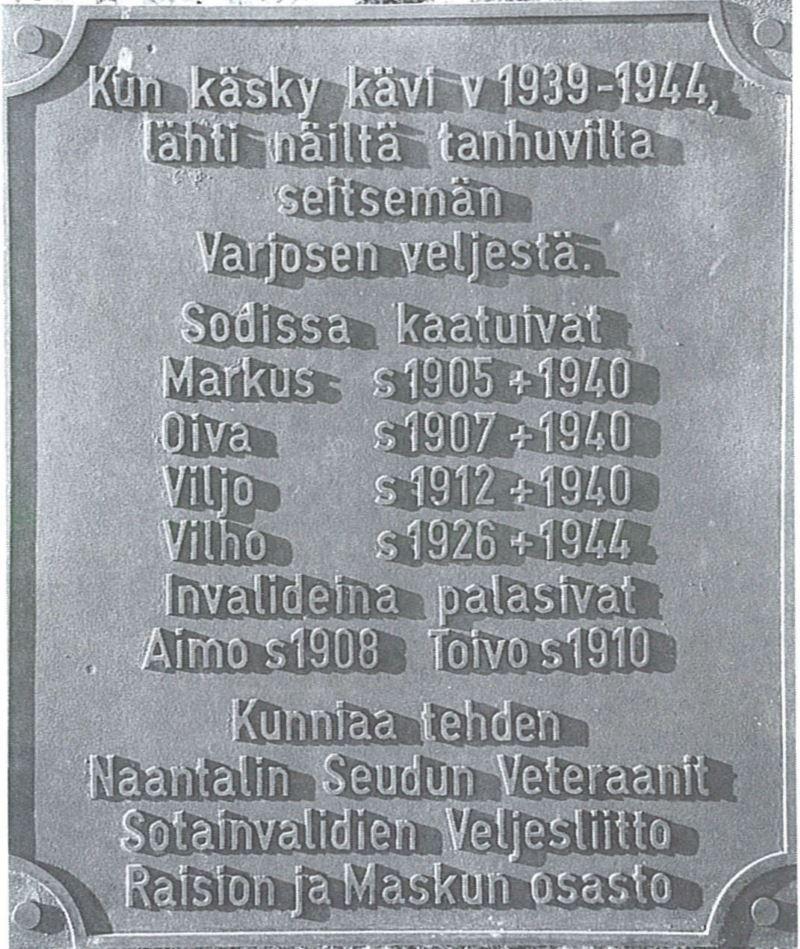 veteraanien muistolaatta Raisio