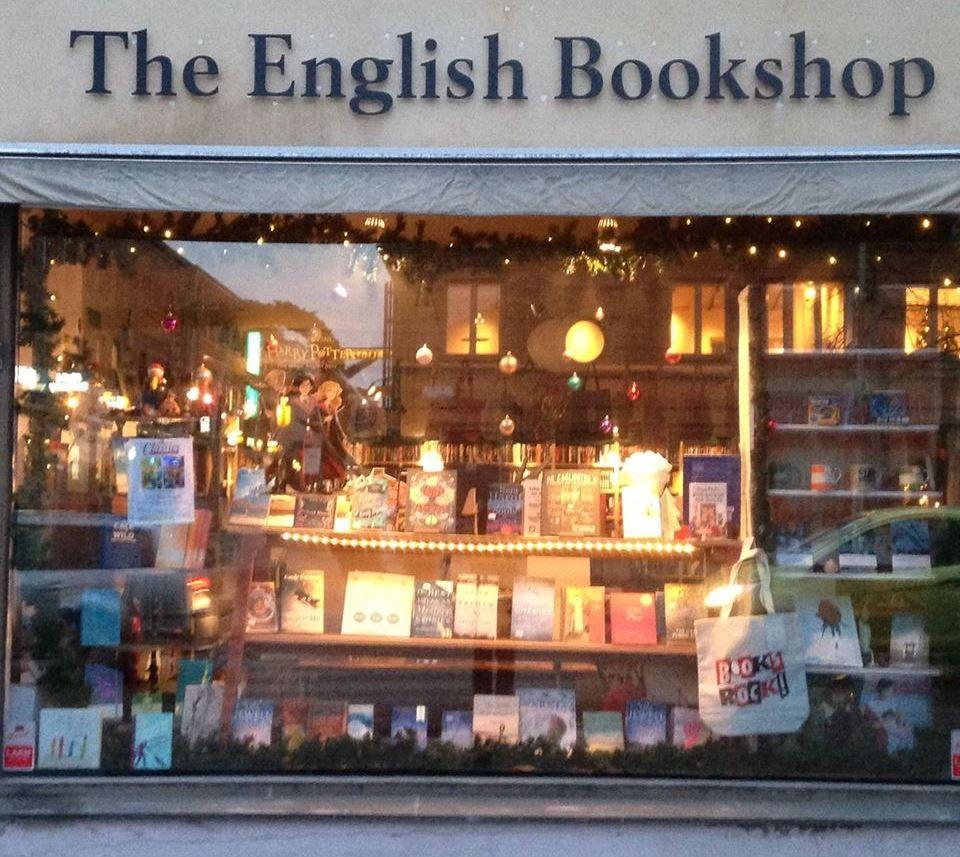 Uppsala, English Bookshop kirjakaupan näyteikkuna
