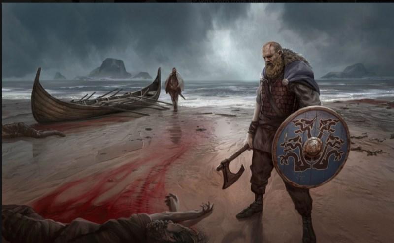 Viikingit rannalla, maalaus. Kuva: Norse Viking History.