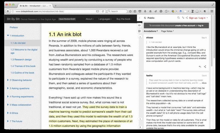 Open Review työkalu käsikirjoitus arviointi, Salganik
