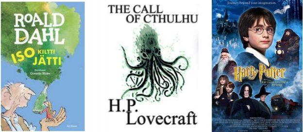Harry Potter, Lovecraft, Roald Dahl kirjojen kansikuvat