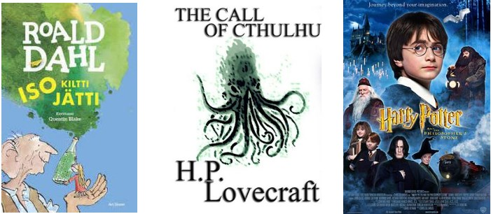 Harry Potter, Lovecraft, Roald Dahl kirjojen kansikuvat