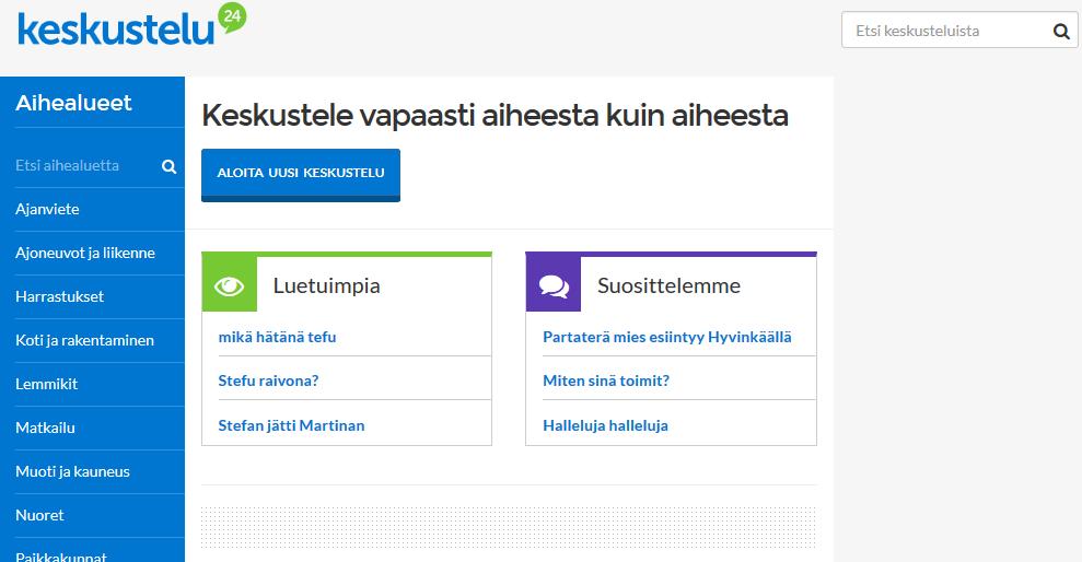 Suomi 24 keskustelut, näytön kuva