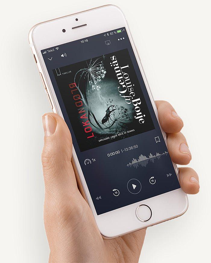 Nextory äänikirjojen kuuntelusovellus puhelimessa