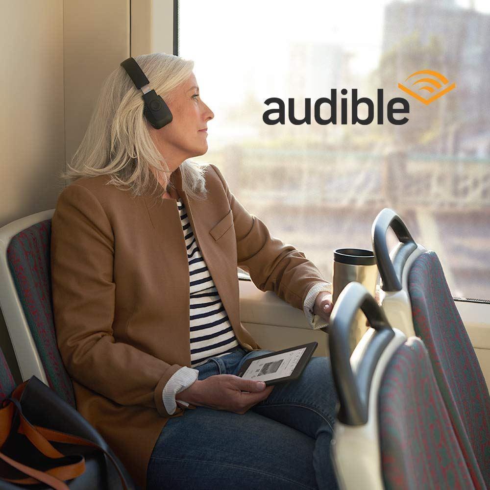 Amaon Kindle Paperwhite lukulaitteessa voi kuunnella Audible äänikirjoja