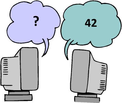 kaksi tietokoneen näyttöä keskustelee