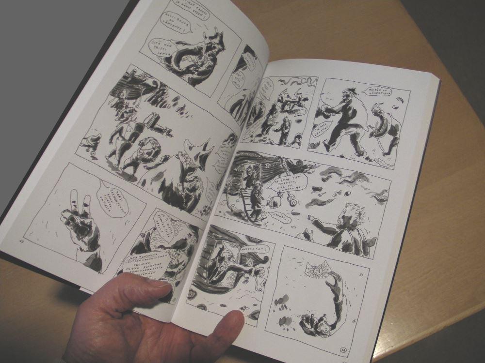 Minna ja miehet -sarjakuvakirjan aukeama