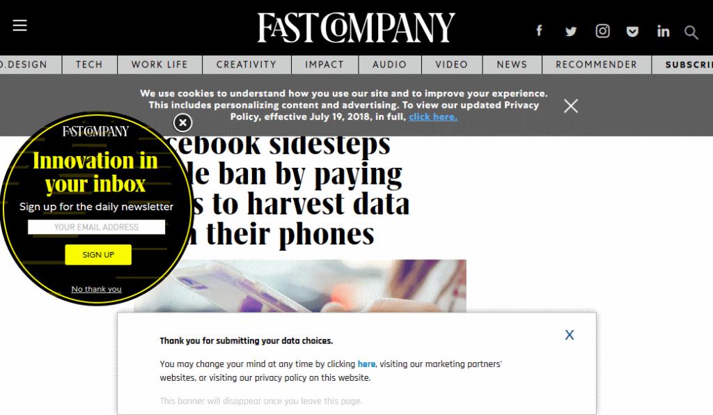 Fast Company web-sivu peitetty popup-ikkunoilla