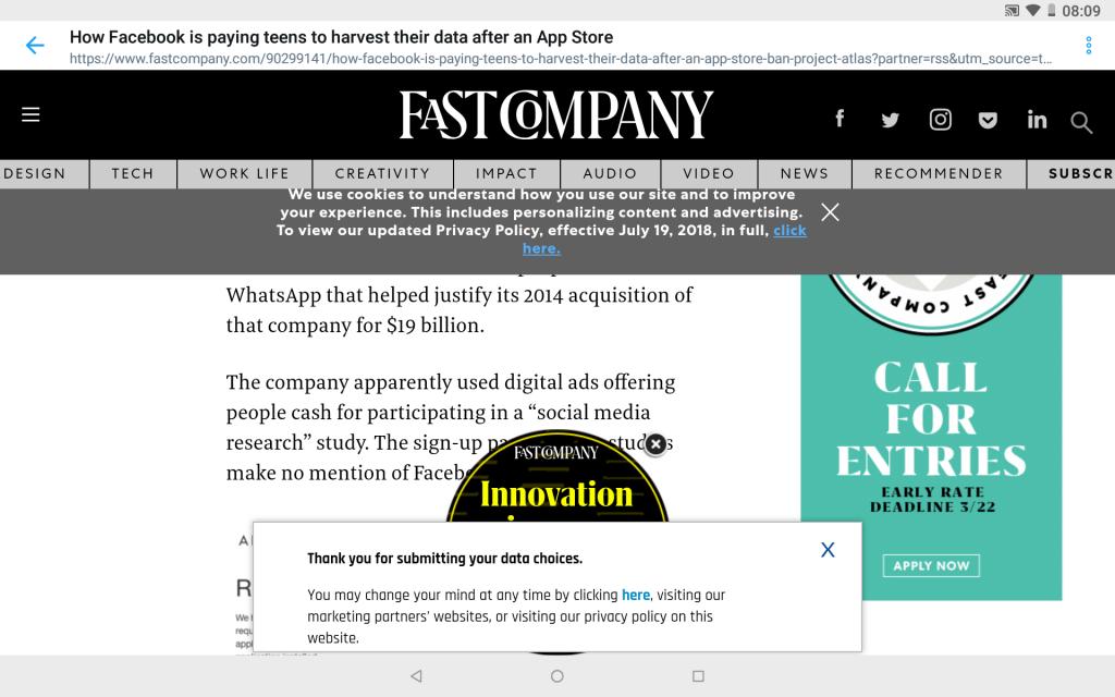 Fast Company verkkosivu