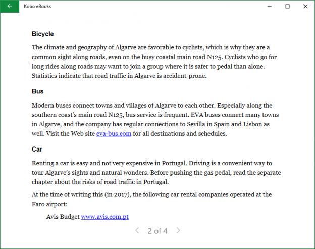 Kobo, e-kirjojen lukusovellus Windows 10 -tietokoneille