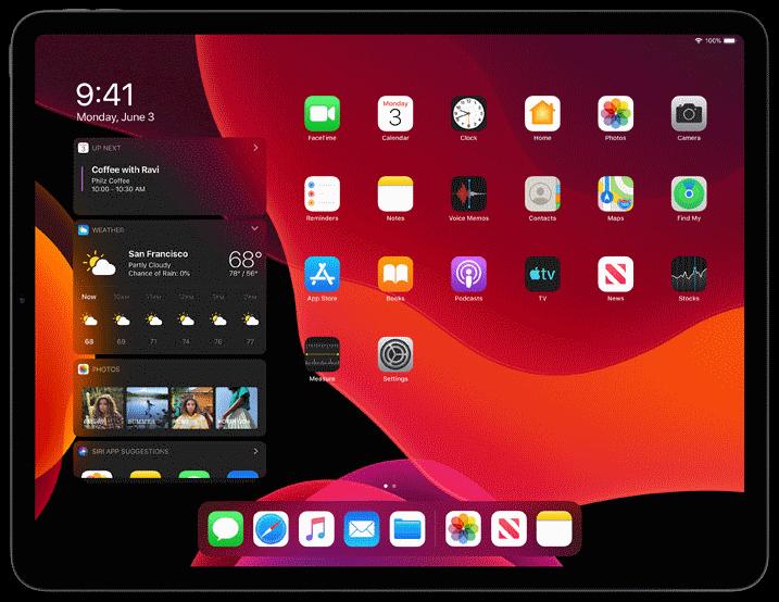 Apple iPad tabletti, iPados dark mode