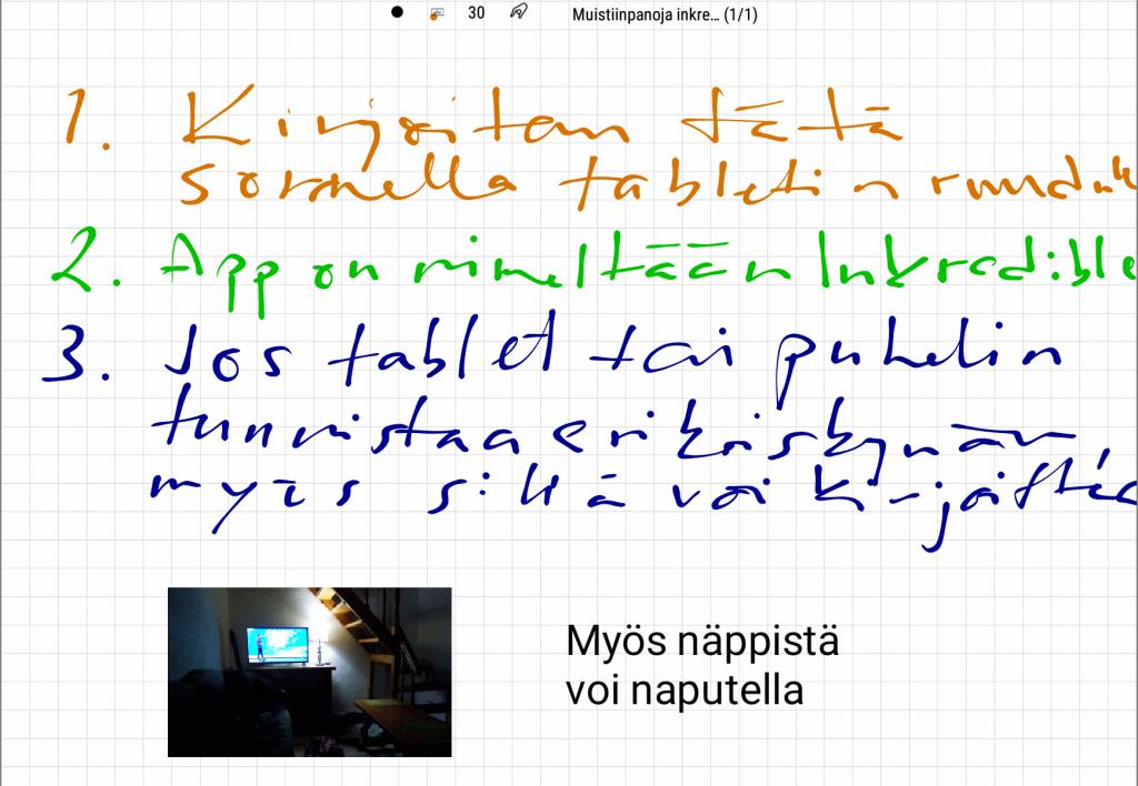 inkredible sovellus käsinkirjoittamiseen