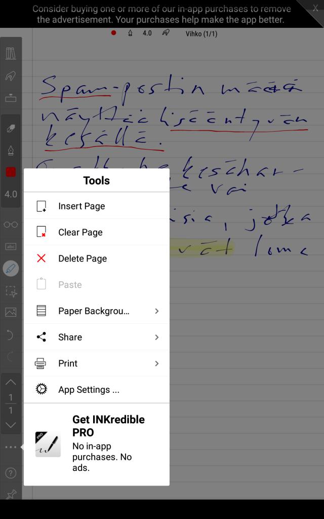 inkredible app muistiinpanojen kirjoittamiseen