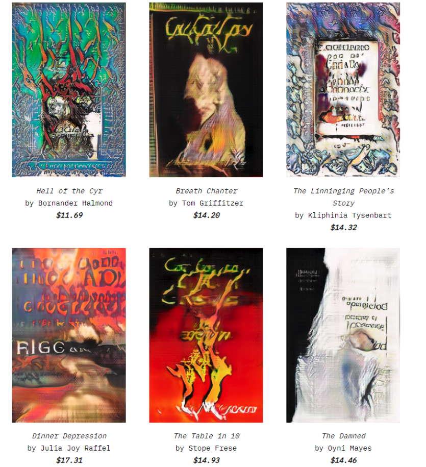booksby.ai projektin tuottamia tekoälyn kirjoittamia kirjoja