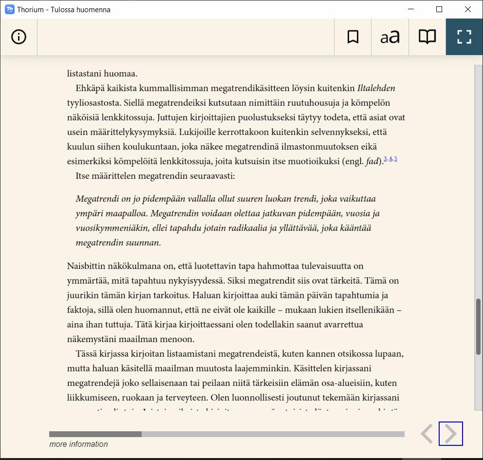 THorium Reader lukuohjelma Windows-tietokoneella