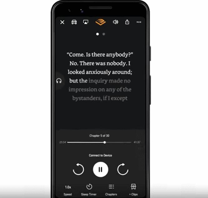 audible captions äänikirja puhelimessa