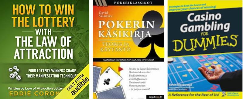 3 kirjan kansikuvaa peleistä, pokerista, arpajaisista