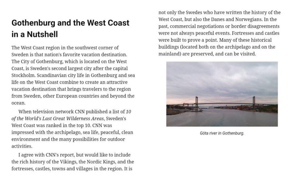 matkaopas etelä-ruotsiin: kirjan aukeama