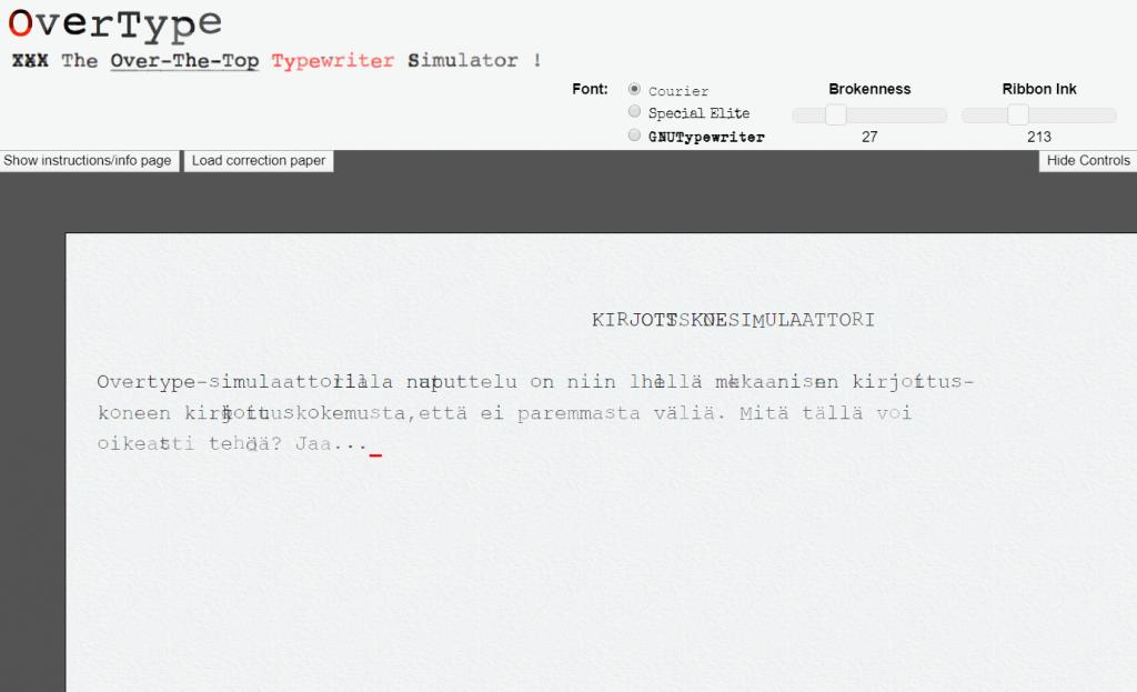 overtype verkkosivu simuloi kirjoituskonetta