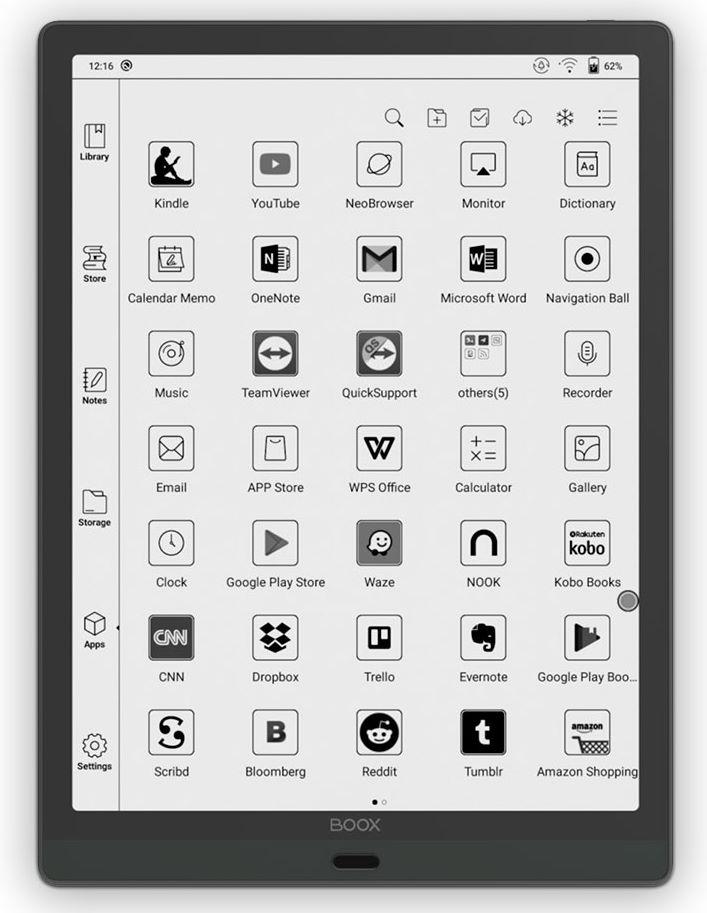 onyx boox max lumi, 13,3 tuuman kirjoitustablet ja lukulaite. ruudulla android sovelluksia