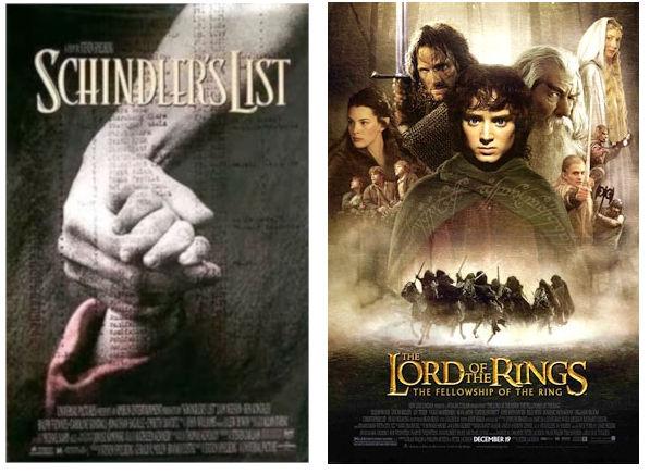 elokuvajlulisteet: schindlerin lista, taru sormusten herrasta