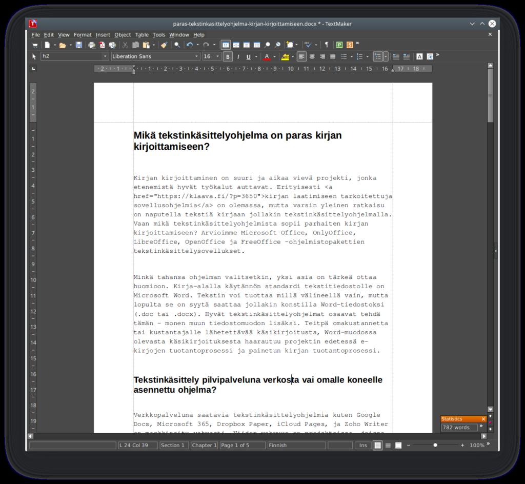freeoffice textmaker kirjoittamiseen