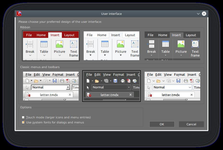 freeoffice textmaker tekstinkäsittelyohjelman ulkoasuja
