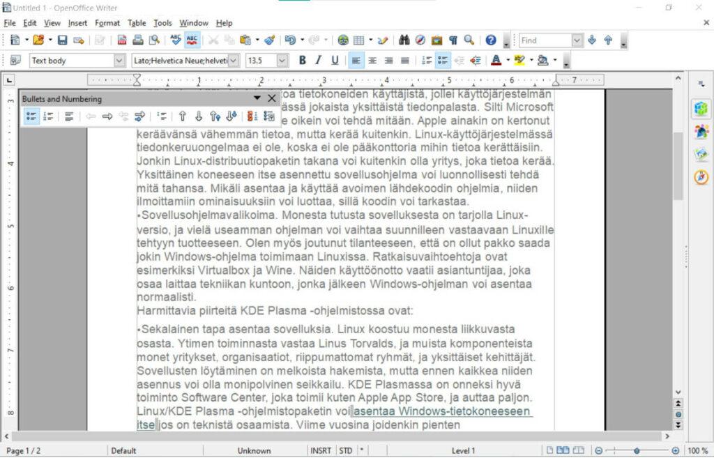 openoffice tekstinkäsittely