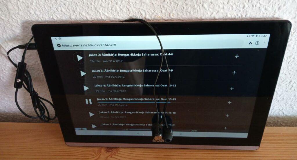 acer tablet äänikirjojen kuuntelu kuulokkeilla