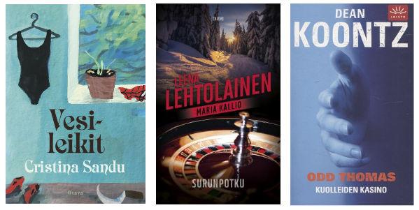 kolme kirjan kantta: Sandu, Lehtolainen, Koontz