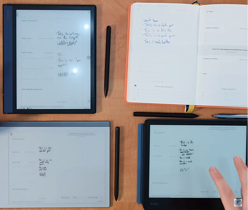 3 kirjoitustabletia ja paperi-kynä vertailussa